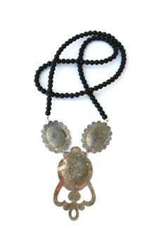 'Crown Jewels', 2012, necklace, silver, old zinc, steel, beads. Made by Malou Paul. www.maloupaul.nl