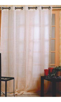 Ce rideau est en lin uni.  Dimensions : 150 x 240 cm ou 300 x 240 cm  Composition : 55 % polyester et 45 % lin  Réalisation sur mesure possible (clicker sur l'onglet personnaliser ce produit).  Tissu fabriqué en France  Livraison sous huitaine