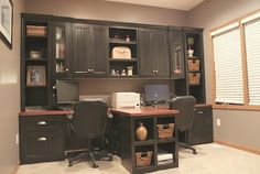 DIY Office with T- shaped Counter top and Built-in Cabinets. Someday perhaps we will do this in the office? (minus the t-shape)
