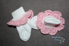 Crocheted Trim Socks 06 months Ready to ship by Wigglewormscorner, $6.00