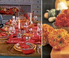 Elegant Thanksgiving Table Setting Ideas // Hostess with the Mostess - - These Thanksgiving tablescape ideas from Country Living are so elegant & inspiring! I love the sense of warmth conveyed in this first look, which. Rustic Thanksgiving, Thanksgiving Table Settings, Thanksgiving Centerpieces, Happy Thanksgiving, Table Set Up, Setting Table, Dinner Themes, Fall Table, Elegant