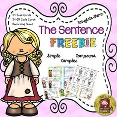 Use these 24 TASK CARDS AND QR CODE CARDS featuring favorite fairytale characters to provide an element of fun to learning grammar. The 24 task cards provide further reinforcement of the skills of identifying the simple sentence, compound sentence, and complex sentence.