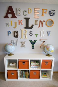 Nursery - paint alphabet letters at baby shower. Wall paint is Glidden's Winter Evening. [refreshdesignstudio.com]