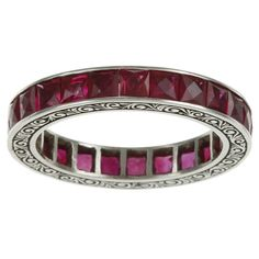 Shop for Platinum Ruby Antique Estate Eternity Band. Get free delivery On EVERYTHING* Overstock - Your Online Jewelry Destination! Platinum Jewelry, Ruby Jewelry, Jewelry Rings, Jewellery, Antique Diamond Rings, Eternity Bands, Artisan Jewelry, Jewelry Stores, Jewelry Accessories