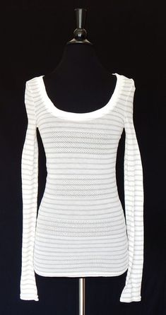 FREE PEOPLE White Striped Pointelle Stretch Knit Long Sleeve Scoop Neck Top M #FreePeople #KnitTop #Casual