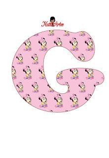 Alfabeto de Minnie Bebé en Fondo Rosa.