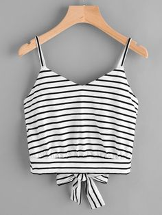 Women American Casual Summer Camis Tank Tops Blouse Loose T-Shirt Black and white striped lace bow Women Sleeveless Straps - Cute clothes - Cropped Cami, Cami Crop Top, Cami Tops, Crop Tank, Summer Outfits, Casual Outfits, Cute Outfits, Casual Clothes, Girl Fashion