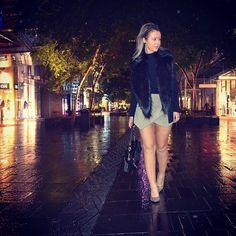 Tonight wearing @unreal_fur scarf, @bardot bodysuit, @danniiminogue #danniifortarget blazer, @sheikeandco skort, @dissonahk bag and shoes from @wantedshoes in #pittstreetmall #sydney #cbd #city #styledbyveronicamaree #streetstyle
