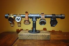 Industrial Steampunk Watch Display Holder by CharlotteIndustrial                                                                                                                                                     More - mens latest watches, men watches online, concord watches *sponsored https://www.pinterest.com/watches_watch/ https://www.pinterest.com/explore/watch/ https://www.pinterest.com/watches_watch/womens-watches/ http://shop.nordstrom.com/c/mens-watches