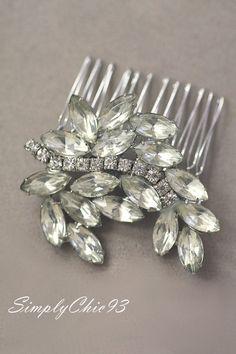 Bridal Hair Comb, Vintage Brooch, Greek Leaves, Crystal comb, Hair Accessories, Wedding , Swarovski Hair Brooch, Something Old