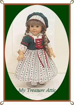 Handmade by My Treasure Attic (aka..Carolyn's Creations) for the American Girl Doll, Kirsten. 3pc Irish Fest Frock & Bonnet.