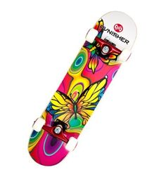 "Punisher Skateboards Butterfly Jive Complete 31-Inch Skateboard with Canadian Maple by Punisher Skateboards. $51.94. From the Manufacturer                31"" x 7.5"" Double Concave Deck featuring Canadian Maple construction. This board has the second best available bearings, the wheels are ideal for pavement or a skate park, and the reinforced trucks are strong enough for an adult rider. Ideal for any skateboard enthusiast.  All Punisher Skateboards use world-class components fr..."