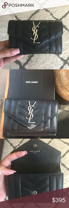YSL Portefeuille Famme credit card wallet . Bought it at the YSL store in November 2017 at south coast Plaza , Ca . USED but the Condition like brand new . The hardware it's called oxidiced nickel hardware , so that why look kinda dirty gray and black combined . I have the box and the information paper . No receipt . Please take a look the pic before buy it . You can give me offer but please no LOW BALLER! Thank you ❤️ Yves Saint Laurent Bags Wallets