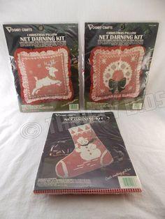 Vogart Crafts 3 Pc XMas Snowman Stocking Reindeer & Wreath Pillow Net Darning  #VogartCrafts