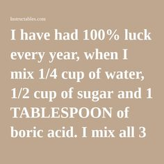 I have had 100% luck every year, when I mix 1/4 cup of water, 1/2 cup of sugar and 1 TABLESPOON of boric acid. I mix all 3 ingredients in a microwave jar (I just use a bowl that I can either throw away, or wash and disinfect it fully). So then mix it all together, and then place it in the microwave oven until it is warm. About 35 to 40 seconds. Once I take it out, I mix it really well again. Then i get a handful of cotton balls, and saturate each one in the mixture, then place each…