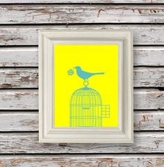 Digital Download No. 242, Yellow and Gray Bird on a Branch, Print