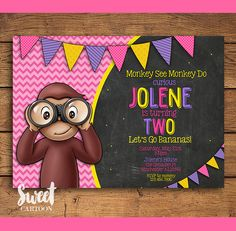 Custom Curious George birthday printable invitation for girls in pink purple and yellow with photo, banner and chalkboard texture. Personalization by SweetCartoon 2 Year Old Birthday Party Girl, Second Birthday Ideas, Girls Birthday Party Themes, First Birthday Photos, Girl First Birthday, Baby Birthday, First Birthday Parties, Curious George Party, Curious George Birthday