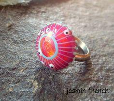 jasmin french ' JELLY ' mini ringtop lampwork bead ooak