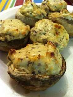 MOUTH WATERING STUFFED MUSHROOMS 12 whole fresh mushrooms 1Tbsp veg oil 1 tbsp minced garlic 1-8oz cream cheese, softened 1/4 c grated Parmesan  1/4 tsp black pepper 1/4 tsp onion powder 1/4 tsp ground cayenne pepper  Preheat 350. Spray a baking sheet (I used a muffin tin to keep them up right and it catches the juice). Wash and drain mushrooms and remove stems. Chop stems fine. Use oil to sauté stems and garlic until moisture is gone.  Mix garlic and mushroom stems with rest of ingredients…