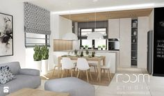 Salon z Sówką - Duża otwarta kuchnia w kształcie litery u w aneksie z wyspą, styl skandynawski - zdjęcie od ROOM STUDIO