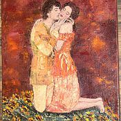 """Картины и панно ручной работы. Ярмарка Мастеров - ручная работа """"Нежность"""". Авторская картина маслом на холсте влюбленные. Handmade."""