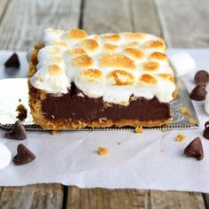 Baked Nutella S'mores - All the wonderful flavors of s'mores without an open fire! Dark chocolate, graham crackers, marshmallows & Nutella.