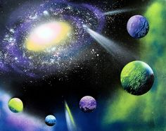spray paint art outer space scene how to, crafts, home decor, painting, repurposing upcycling, wall decor