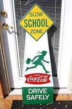 1950's Original Coca Cola  School Zone Crossing Sign Fishtail-New Old Stock!