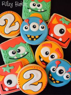 "Custom Decorated ""Monster Theme"" Cookies by RileyBakes on Etsy https://www.etsy.com/listing/261671722/custom-decorated-monster-theme-cookies"