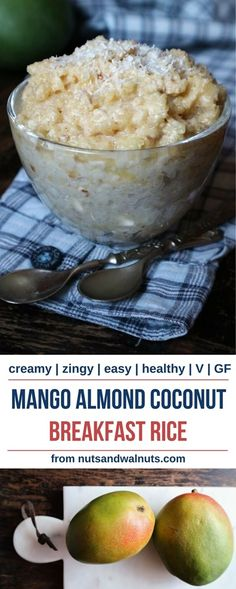 Mango Almond Coconut Breakfast Rice ✴ Make a breakfast celebration! Sweet and juicy fruit, enriched with almond and coconut over a bowl of soft rice. Great way to start a day!