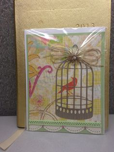 Any occasion bird in the cage card