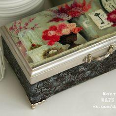 Hand decorated wooden box. Decoupage, stained wood, stencil. 15€. Шкатулка,  декупаж, объемный трафарет. 1000₱ #woodenbox #moneybox #boxhandmade #jewelrybox #daysandcrafts #шкатулкаручнойработы #шкатулкадляденег #шкатулкадляукрашений #подарокдевушке #подарокмаме