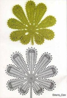 Crochet Flower Patterns Part 1 - Beautiful Crochet Patterns and Knitting Patterns Crochet Leaf Patterns, Crochet Leaves, Crochet Motifs, Freeform Crochet, Crochet Diagram, Irish Crochet, Knitting Patterns, Crochet Flower Hat, Crochet Christmas Trees