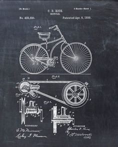 Patent Print of a Bicycle Patent Art Print Patent by VisualDesign #patentartprints