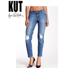 Kut from the Kloth Destructed Knee 5 pocket. Zip fly with button closure. Distressed detail at knee. Whiskering and faded detail. Super cute when rolled at cuff. 99% cotton 1% spandex. Kut From The Kloth Jeans