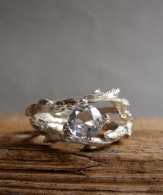 Clear White Topaz Double Twisted Branch Jewelry Elvish Twig  Ring Organic Jewelry April Birthstone Alternative Diamond