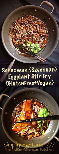 healthy stir fry Schezwan {Szechuan} Eggplant Stir Fry in Anolon Pan Vegan Stir Fry, Healthy Stir Fry, Tofu Stir Fry, Vegetarian Stir Fry, Vegetarian Platter, Szechuan Recipes, Asian Recipes, Ethnic Recipes, Eggplant Recipes Asian