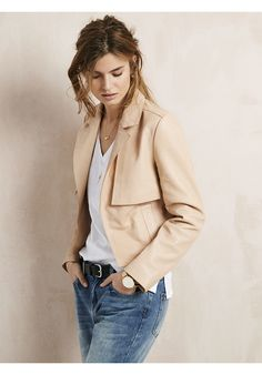"""Our buttery soft Austen leather jacket will be your spring to summer staple. Cropped in shape, so it can be worn over dresses, or simply styled over t-shirt with jeans. •Semi-fitted. Try your usual size. •Open front. •Longsleeves. •Model is 5'9"""" and wears size 10."""