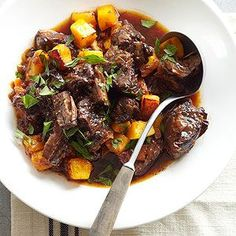 Rich Beef Stew with Bacon and Plums From Better Homes and Gardens, ideas and improvement projects for your home and garden plus recipes and entertaining ideas.