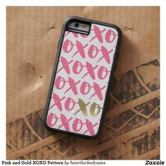 Pink and Gold XOXO Pattern Barely There iPhone 6 Case