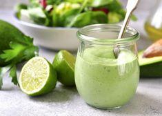 Tweed Real Food - Creamy Avocado Dressing Green Goddess Salad Dressing, Goddess Dressing Recipe, Lime Salad Dressing, Creamy Avocado Dressing, Balsamic Dressing, Salad Dressing Recipes, Salad Recipes, Easy Healthy Recipes, Healthy Snacks