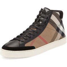 Burberry Painton Men's Check High-Top Sneaker ($495) ❤ liked on Polyvore featuring men's fashion, men's shoes, men's sneakers, shoes, black, burberry mens shoes, mens high top shoes, mens cushioned shoes, mens flat shoes and mens sneakers