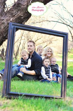 Family with frame. Think this would work  @ Amy Davis
