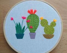 Bordados modernos 'Cactus 2' 3 pulgadas aro por CheeseBeforeBedtime