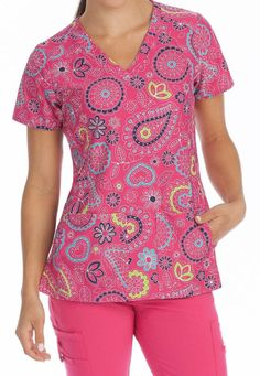 Med Couture Activate Pink Bloom V-Neck Print Scrub Top