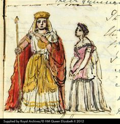 Formes and Mlle. Grisi performing in 'Flauto Magico': pen and ink sketch with watercolour, by Queen Victoria. Queen Victoria's Journals (website). RA VIC/MAIN/QVJ (W) 15 July 1851 (Journal illustration). See http://www.queenvictoriasjournals.org
