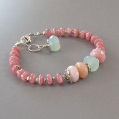 Rhodochrosite Pink Peruvian Opal Bracelet Ocean Chalcedony Sterling Silver DJStrang Blue Green Gemstone Boho Cottage Chic Pantone 2016