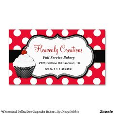 Bakery business cards templates free download at whimsical polka dot cupcake bakery business card cheaphphosting Image collections