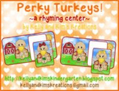 We have created a literacy center that will help your students practice finding pairs of rhyming words. This pack includes 36 turkeys with a picture on their belly who are looking for another turkey with a rhyming picture on its belly. If all of the matches are found, children can name each of the rhyming pairs.