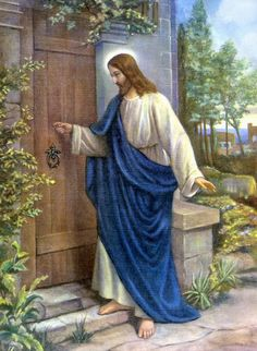 """""""Behold, I stand at the door and knock. Pictures Of Jesus Christ, Religious Pictures, Bible Pictures, Religious Art, Heart Of Jesus, Jesus Is Lord, Image Jesus, Jesus Wallpaper, Jesus Painting"""